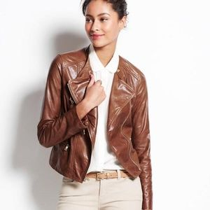 ANN TAYLOR Camel Faux Leather Motorcycle Jacket